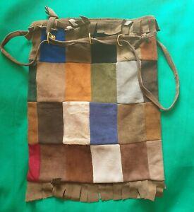 """Vintage patchwork suede hippy bag, fringe, lined, drawstring. 11"""" x 13.5""""."""