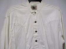 Vintage Antique BUFFALO BUTTONS Oversize M Rockmount NEW/OLD Off white Shirt