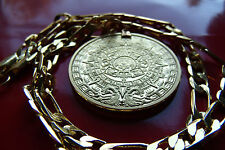 "MAYAN CALENDAR PROPHECY COIN PENDANT on a WIDE 7MM  24"" GOLD FILLED FIGARO CHAIN"