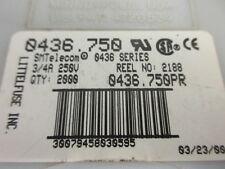 0.75A 250V, Fusible de telecomunicaciones SMT, 0436.750 Littlefuse, 3/4A, ** 5 por Venta **