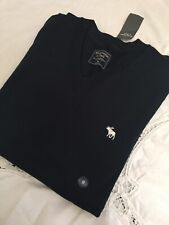 NWT Abercrombie And Fitch Icon V Neck Sweater Navy Blue M