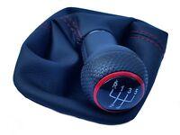 SCHALTSACK + SCHALTKNAUF passend für VW New Beetle - Naht Rot - Kappe Rot