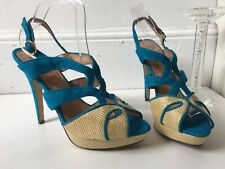 Ravel Blue Suede Canvas High Heel Platform Sandsls Size 8