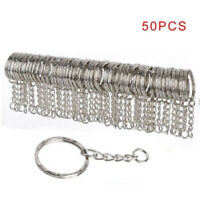 50Pcs 25mm Polished Silver Keyring Keychain Split Ring Short Chain Key Rings DIY