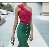 Zara Asymmetric Fuchsia Pink Top Blouse With Knot