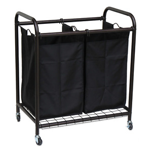 Oceanstar 2-Bag Rolling Laundry Sorter Hamper Clothes Storage Organizer, Bronze
