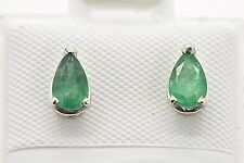 14k White Gold Natural Colombian Emerald Stud Push Back Post .75ct Pear Earrings