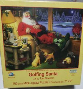 New Sealed 100 Piece Mini Jigsaw Puzzle Golfing Santa Tom Newsom Sunsout