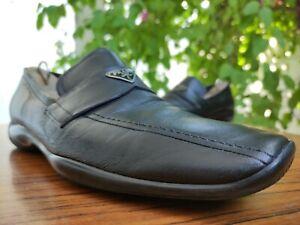 PRADA Sport Men's Black Leather Logo Loafers Shoes Sz US 9 || UK 8 D