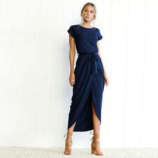 US Women High Split Long Sundress Evening Party Cocktail Prom Gown Waist Dress