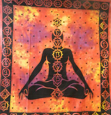 Tagesdecke 7 Chakras Meditation rot 230x210cm Tie Dye Baumwolle Überwurf Behang