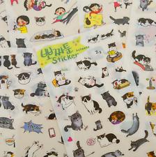 Kawaii Funny Cat Stickers Set ~ Cute Cats Kitten Scrapbooking Stickers Deco DIY