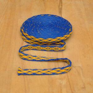 Mittelalter LARP Reenactment Handgewebte Brettchenborte Wolle blau-gelb Borte