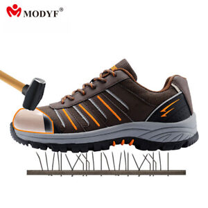 Men work safety shoes steel toe reflective casual breathable boots puncture p...