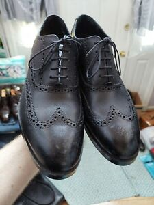 Worn 1X Cole Haan Henry Grand Wingtip Oxford Black Leather Shoes Men's 11 M