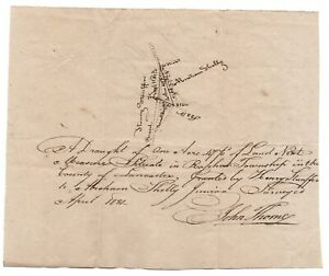 Antique 1831 Raphoe Township Lancaster PA Plat Map Abraham Shelly / Stauffer