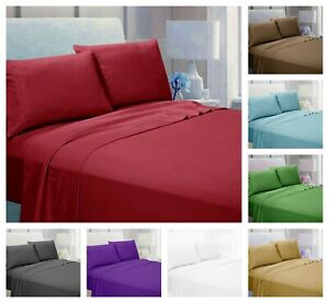"4 Piece Bed Sheet Set 1900 Count 14"" Deep Pocket Egyptian Comfort Hotel Quality"