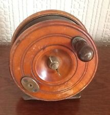 Wooden Vintage Centrepin Fishing  Reel.  G Ormond Wood and brass 4. inch.