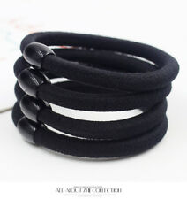 10pcs Black Solid Elastic Hair Ring Beads Hair Rubber bands Rope Headbands