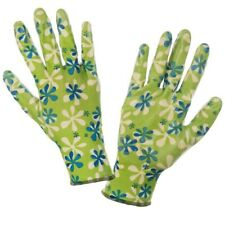 LADIEs GIRLS GARDENING WORK GLOVES Nitrile Coated GREEN - SIZE 7 (S) 8 (M) 9 (L)