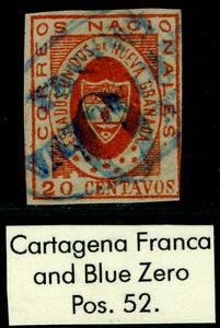 """COLOMBIA 1861 ARMS of New GRANADA 20c red Sc# 17 """"CARTAGENA - FRANCA"""" blue cxl"""