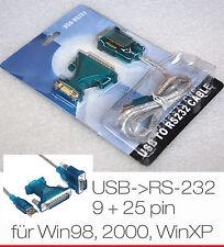 KABEL USB -> SERIELL 9 + 25 PIN  RS-232 RS232 FÜR WINDOWS WIN 98 98se 2000 XP