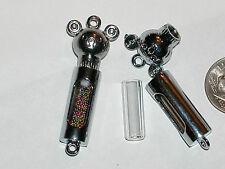 1 fillable Glass Bear Pendant tube rice crystal bottle vial charm NEW