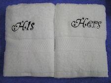 LUXE 600gsm blanc serviettes brodé avec lui et elle / His His / HERS Hers
