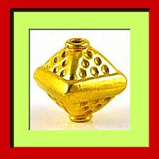 3 VERMEIL 24k Gold Bali Silver Plain Pyramid Bead B184V