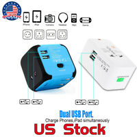 International Converter  Power Adapter Travel Outlet  Dual USB Charger Plug US