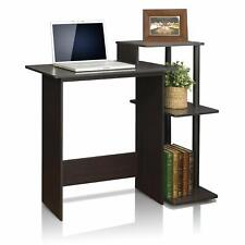Home Office Wooden Study Desk with 3 Shelves - Brown and Black Finish