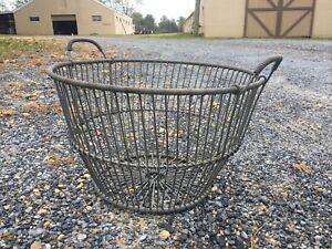 Vintage Metal Clam Quahog Basket  Nautical Maritime Fishing Tool Art