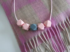 Beautiful Pink Grey Silicone Hexagon Shape Beads Baby Teething Necklace