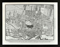 1938 Atlas Map Montreal Plan Quebec Canada St. Lawrence River Downtown Parks