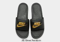 """Nike Benassi Slides """"Black-Gold"""" Men's Slippers Slippers Limited Stock All Sizes"""
