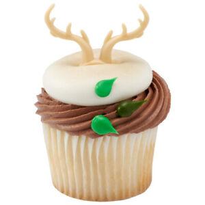One Dozen Hunting Cake Toppers Antler Cupcake Rings Deer Antlers