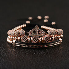 3Pcs/set Luxury Women Men Zircon Crown Bead Macrame Queen King Charm Bracelets