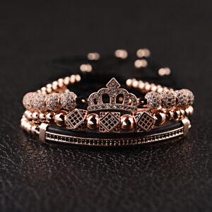 Luxury Women Men Black Zircon Crown Bead Quuen King Macrame Adjustable Bracelets