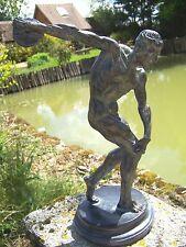 15147  FIGURINE   STATUETTE   STATUE JEU ATHENE  SPORT  DISCOBOLE  STYLE  BRONZE