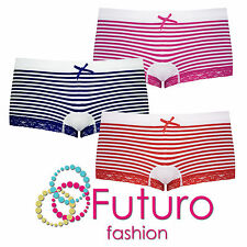 Ladies Striped Boyshort With Lace Briefs Knickers Boxers Sizes S - XL FG7297
