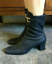 Vtg Mod 60s Navy Blue Soft Leather Ankle Boots Gold Buckle sz 7-1/2 / 8