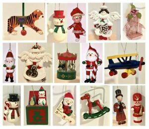 VINTAGE VARIATIONS of HANGING HOLIDAY CHRISTMAS TREE ORNAMENTS
