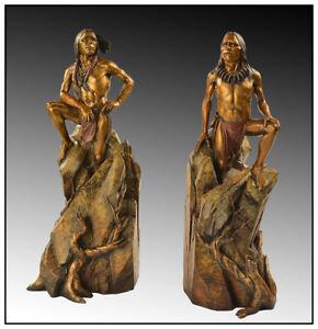 Dan Garrett Large Original Native American Bronze Sculpture Bookends Signed Art