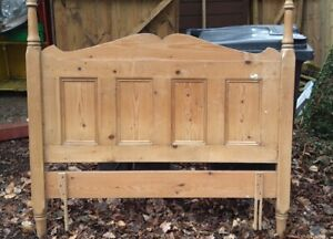 Solid Pine Double Bed 142cm (4ft 8) headboard