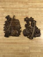 vintage Wall Plaques By Saxton Metal Country Wall Plaques USA 1976 lot of 2