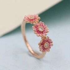 Fashion Flower Rose Gold Wedding Rings Women White Sapphire Jewelry Size 6-10