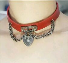 Red LEATHER CHOKER NECKLACE Heart Dangle Pendant Chain Harajuku Gothic Collar