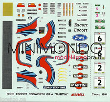 DECALS FORD ESCORT COSWORTH GR.A  MARTINI RALLY CIOCCO 1994 1/43 MERI KITS