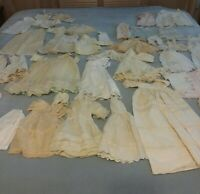 Huge Lot 40 Antique Vintage Doll Clothes OFF WHITE COMPOSITION mix Dresses Baby
