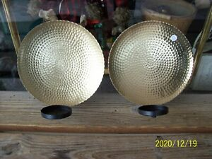 Set 2 Hammered Bronze Wall Sconces Candle Holders Round Gold Discs Black Metal